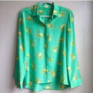 Anthropologie Silk Bird Print Button Down Shirt